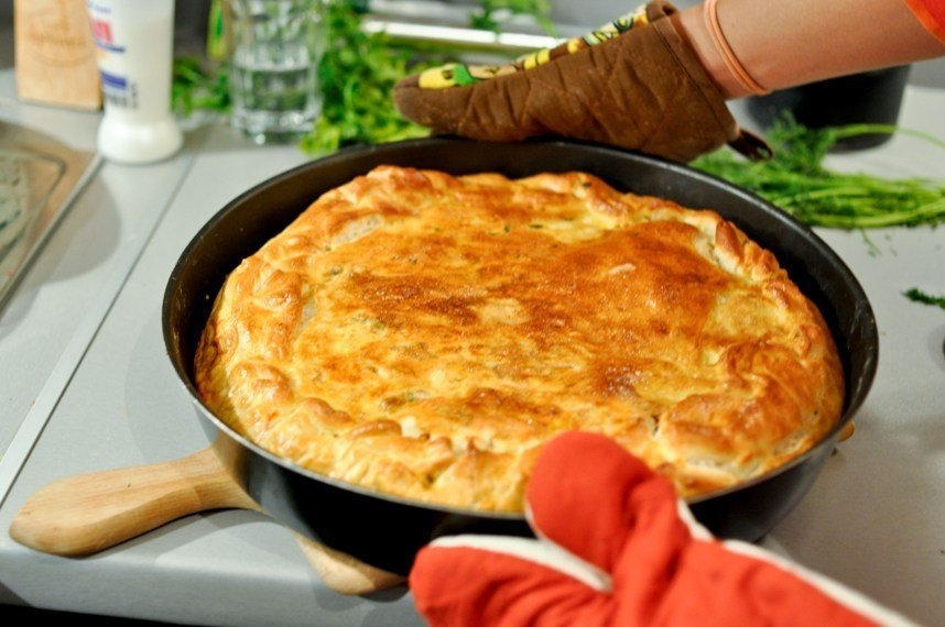 Banitsa with leaks and rice