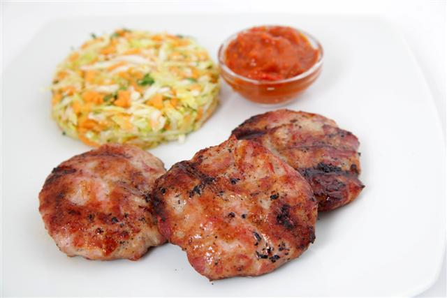 meatballs with cabbage and carrots salad
