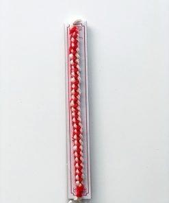 Wool yarn martenitsa bracelet with wooden ornaments