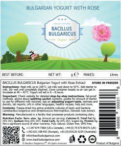 Bulgarian Yogurt Starter with Rose Label